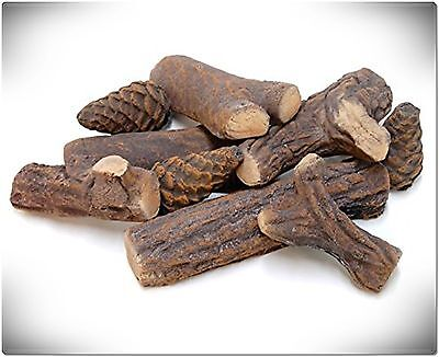 9 PCS Wood-like Ceramic Fireplace Logs Gas Ethanol Hand Crafted with Pine Cones