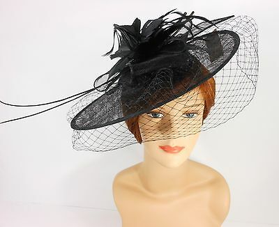New Church Derby Cocktail Sinamay Fascinator Hat w veil headband 3624 Black