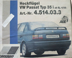 original ZENDER Heckspoiler NEU für VW Passat 35i Spoiler Heckflügel 4.514.03.3