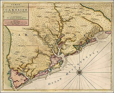 1696 North South Carolina area around Charleston very early map 21856