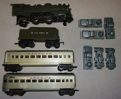 MARX ARMY TRAIN 666 2-4-2 LOCO  and military loads....tanks MARX PASSENGER TRAIN