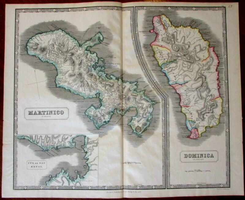 Caribbean Colonial Possessions Martinique Dominica 1851 huge Philip antique map