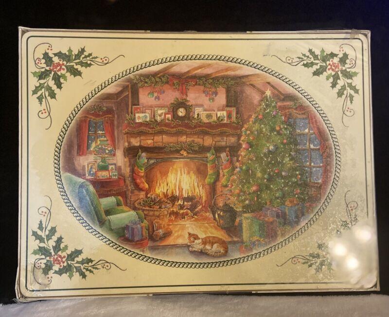 Vintage Pimpernel Christmas Fireside Place Mats Cork back New