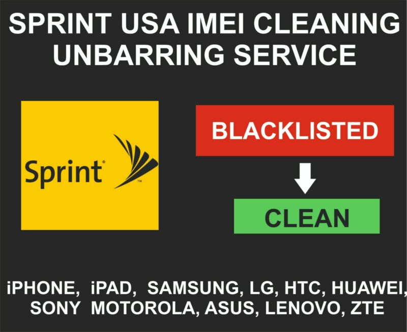 Sprint USA Unbarring, Cleaning Service, iPhone, Samsung, LG, Alcatel, Sony, ZTE
