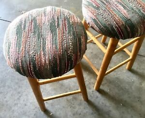 Cute retro / vintage reupholstered stool