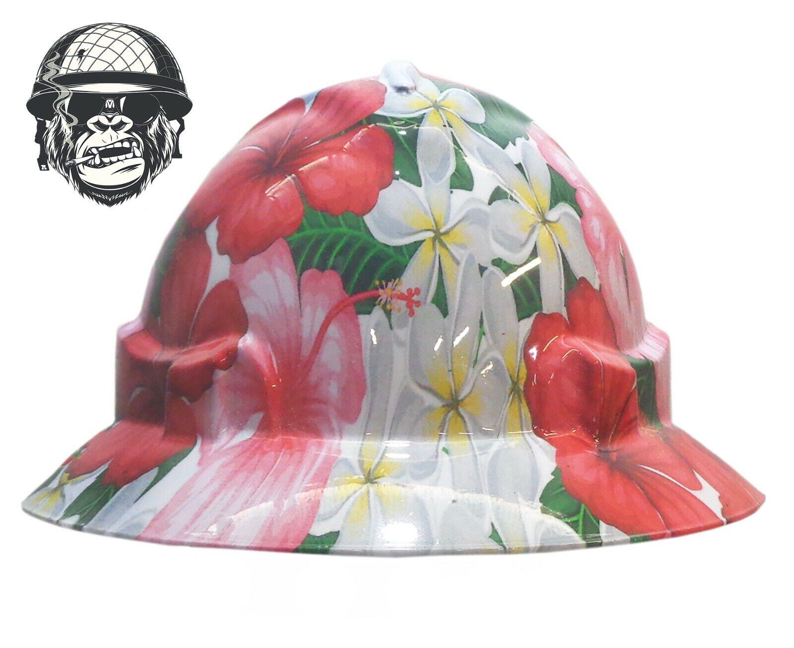 Custom Hydrographic Wide Brim Safety HardHat Hibiscus Flower FRANGIPANI WIDE