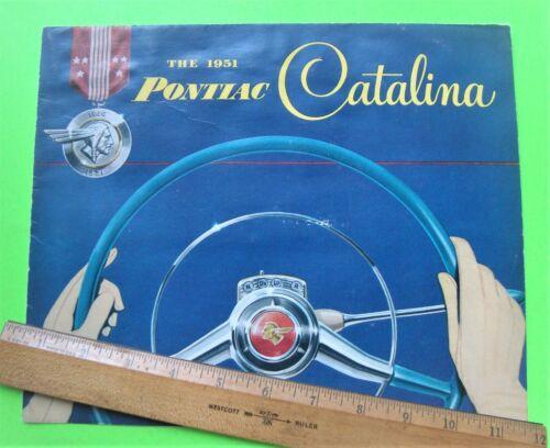 1951 PONTIAC CATALINA HARDTOP COUPE BIG DLX COLOR FOLDER BROCHURE vg+