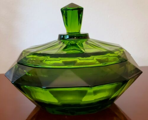 Vintage Viking Glass  Green Diamond Point Candy Dish with Lid
