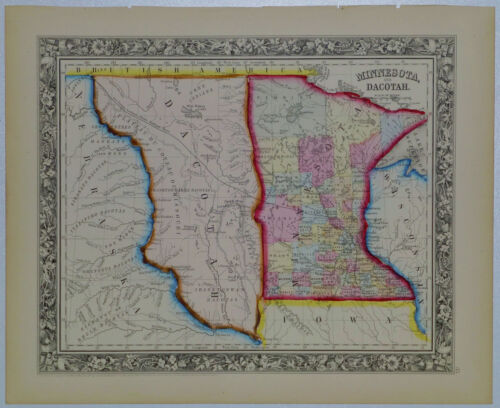 1860 Genuine Antique Map of Minnesota & Dacotah region (Dakota). A Mitchell