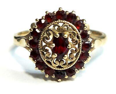Vintage .375 9ct YELLOW GOLD Red GARNET Filigree Halo Design Ring, M, 3.4g - L52