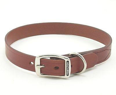 "HAMILTON Creased Leather Dog Collar, 22"" x 1"", Brown"