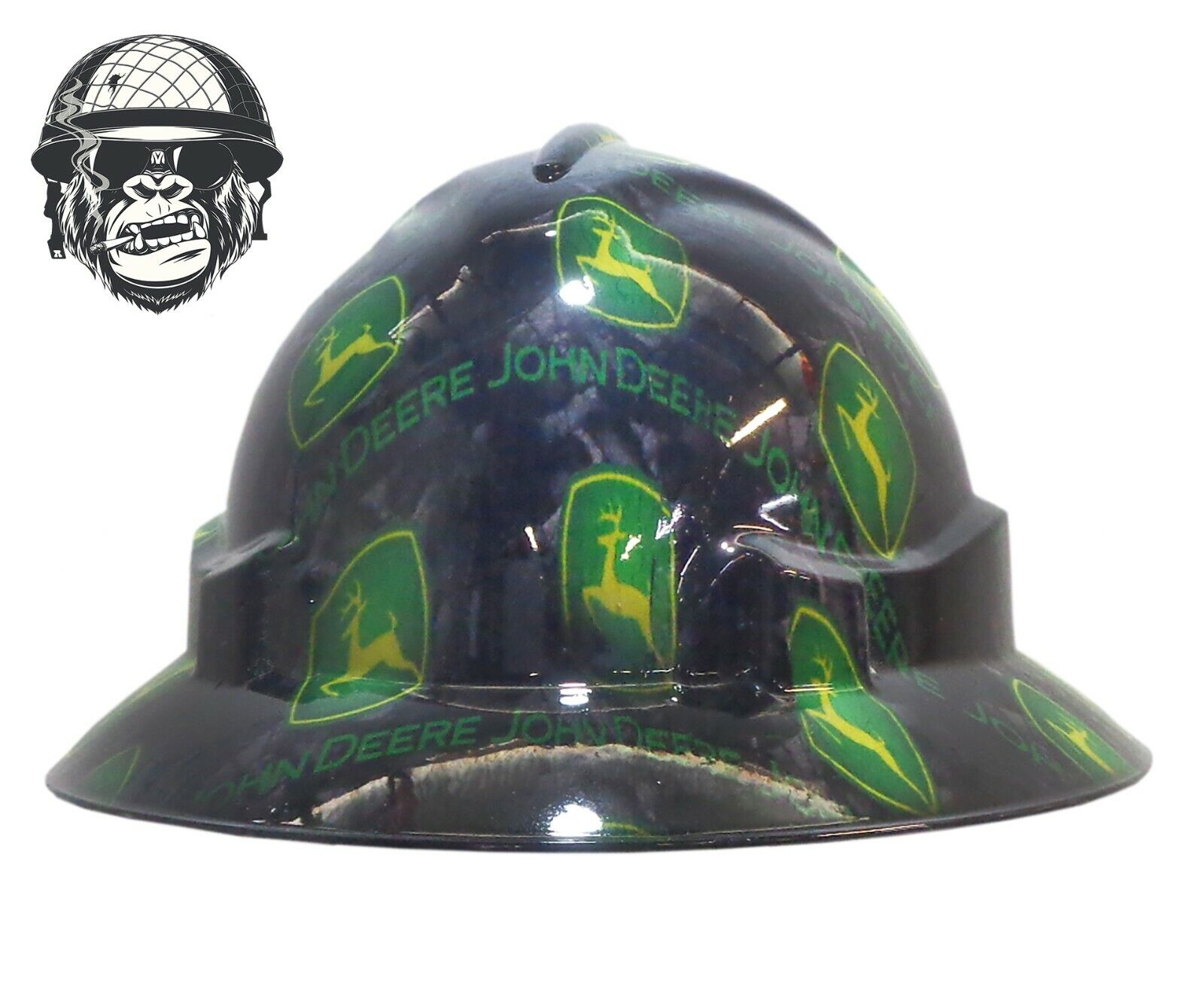 Custom Hydrographic Wide Brim Safety Hard Hat Tractor Farm JOHN DEERE WIDE