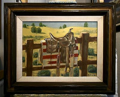 ANTIQUE WESTERN SADDLE, original oil painting  by Richard R. Nervig