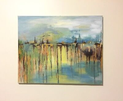 Large Abstract Acrylic Painting Modern Wall Art Original Contemporary Artwork, used for sale  Shipping to Canada