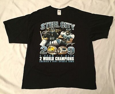 Vintage Pittsburgh Steelers/Penguins 2009 Super Bowl/Stanley Cup Shirt Mens 2XL (Super Bowl Cup)