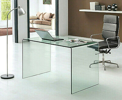 Neos Modern Furniture Bent Glass Executive Desk For Home Office And Remote Work