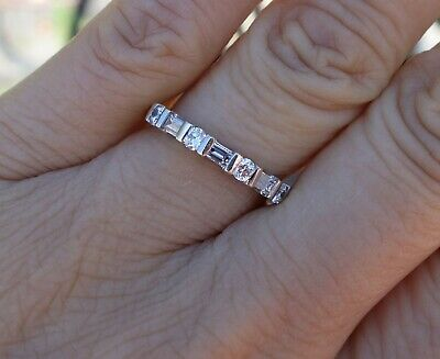 .50ct Clean and white baguette round diamond wedding anniversary band 14k -
