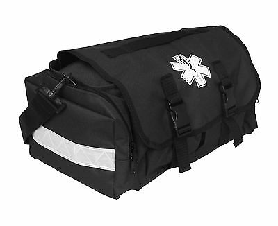 First Responder Emt Paramedic On Call Trauma Bag W Reflectors- Black 17x7x10