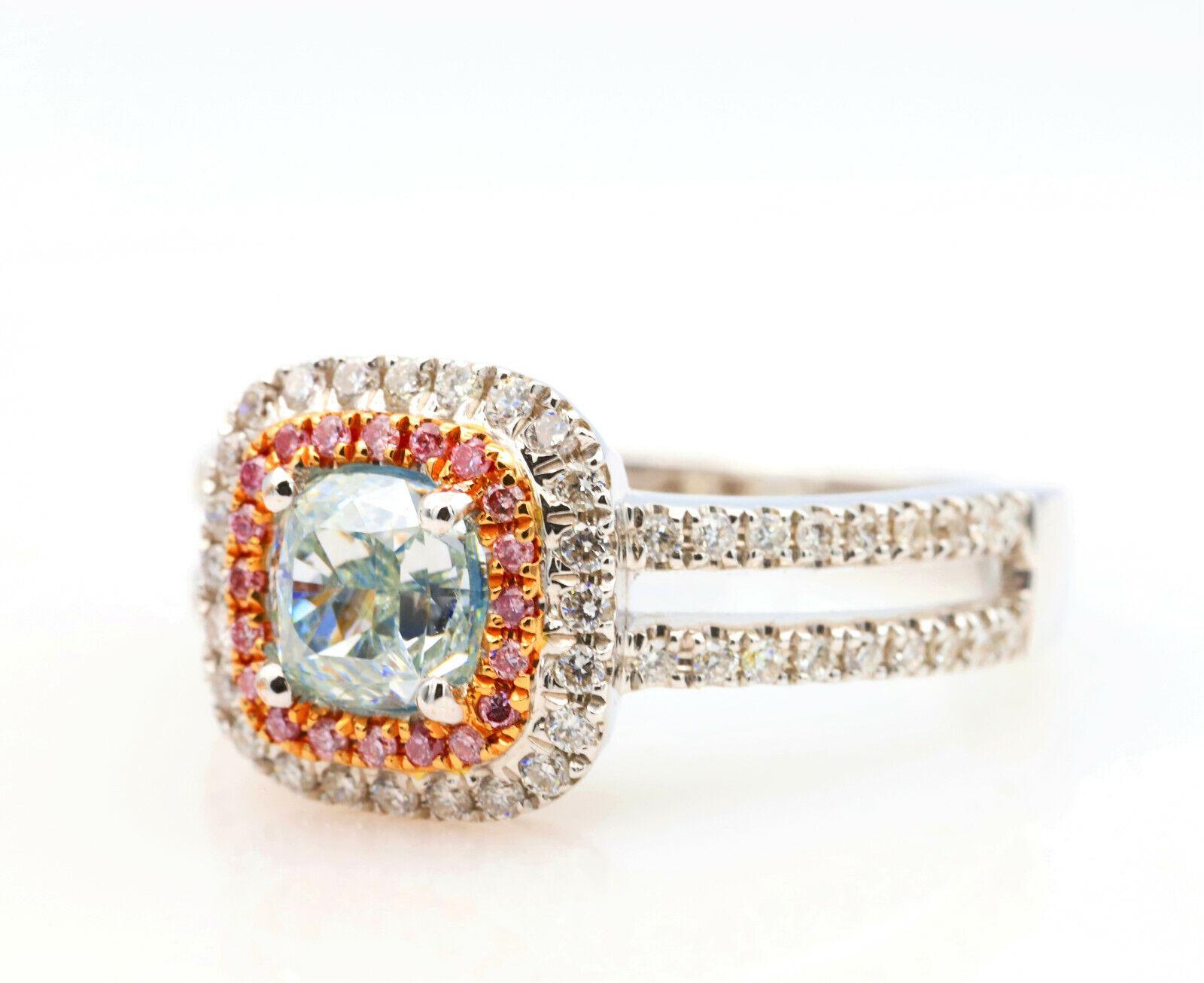1.50ct Natural Fancy Light Green Argyle ntense Pink Diamonds Engagement Ring GIA 2