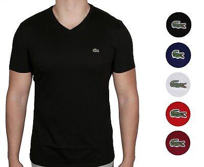 Lacoste Men's Premium Pima Cotton T Shirt V-Neck Short Sleeve Sz S - 4XL NWT