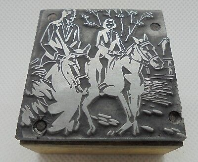 Vintage Printing Letterpress Printers Block Woman Man Riding Horses