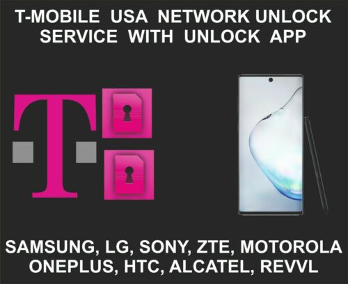 T-Mobile USA Network Unlock Service, With Unlock App, Samsung, Moto, Oneplus