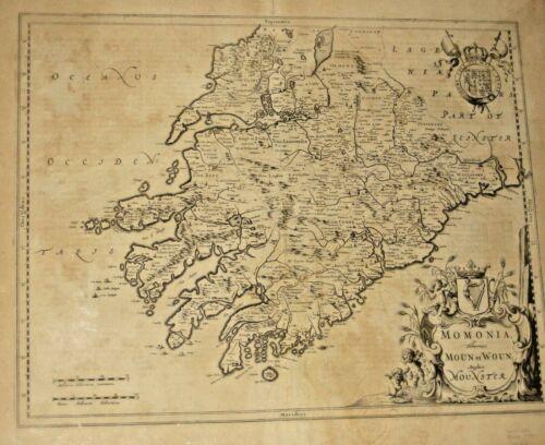 Rare Antique Large Map Munster South Ireland 1654 Momonia Hibernice Moun et Woun