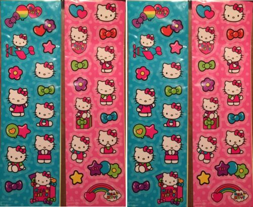 Sanrio HELLO KITTY Bright Teal PINK Stickers 4 Sheets! Rainbow Airplane Stars