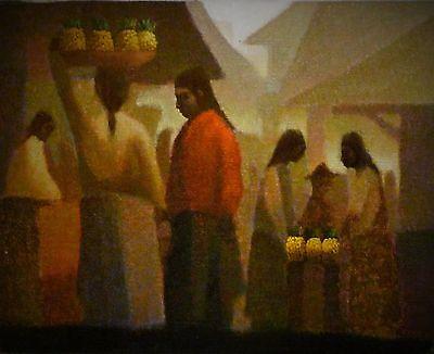 Fernando Melena Nunez  Vendedores De Pina  Oil Painting   Site 16  X 20
