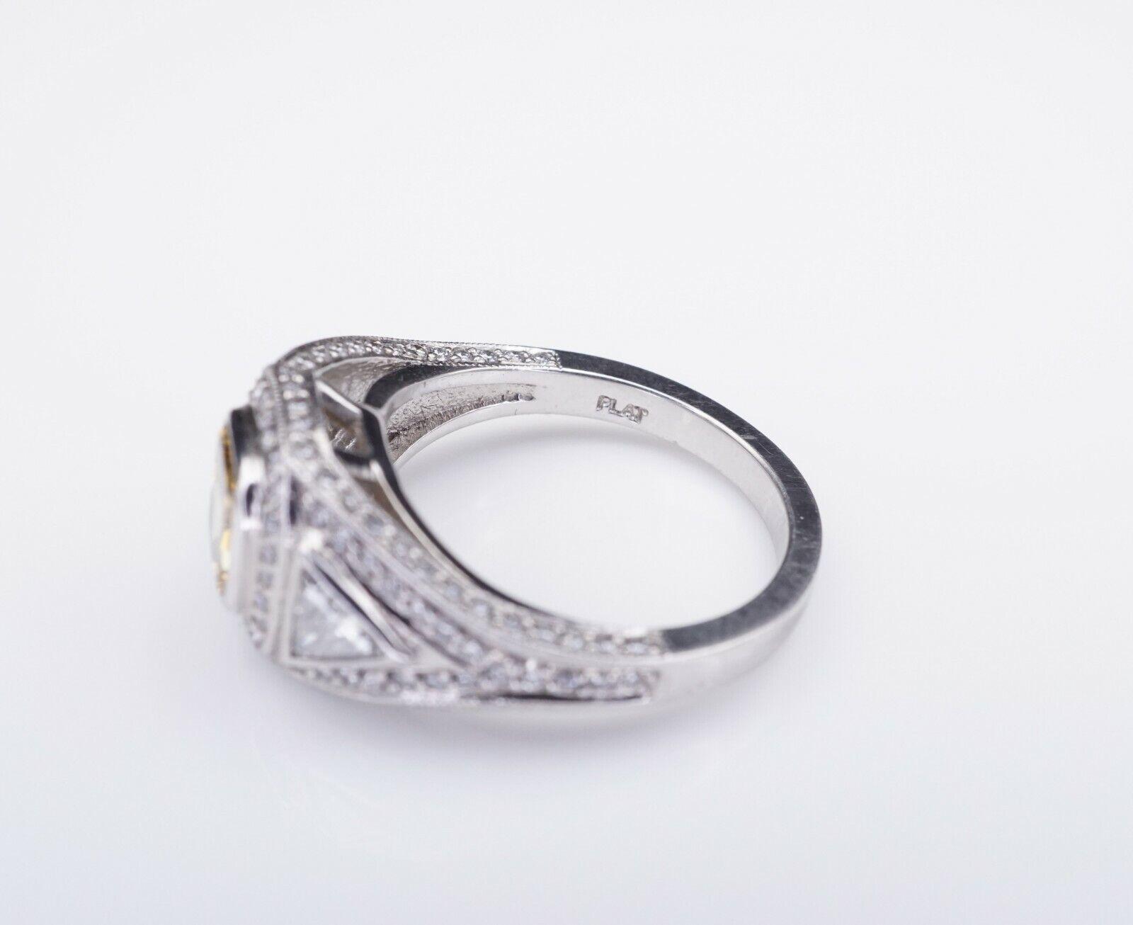 Platinum 3ct Orange-Yellow Diamond Halo Engagement Ring Size 6.75 GIA CO450 6