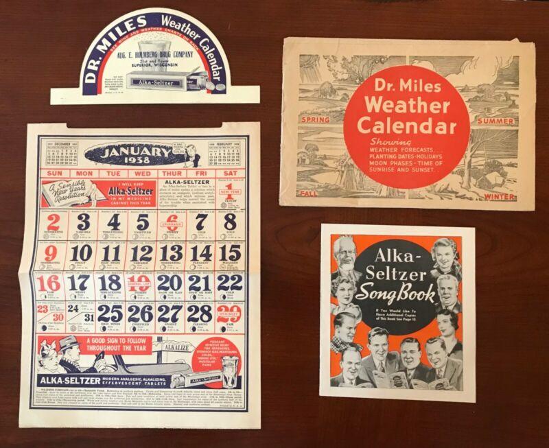 Orig 1938 Dr Miles Medicine Weather Calendar Prescription Drugs Pain Relief