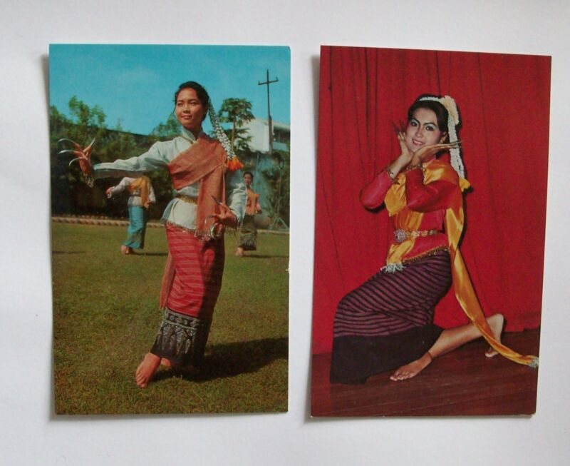 2 RPPC Postcards Nail Dance Of Northern Tailand Phorn Thip 261 674 Vintage VGC