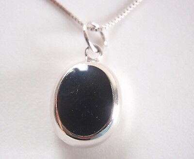 Reversible Black Onyx and Mother of Pearl 925 Sterling Silver Oval Pendant Black Onyx Gemstone Pendant