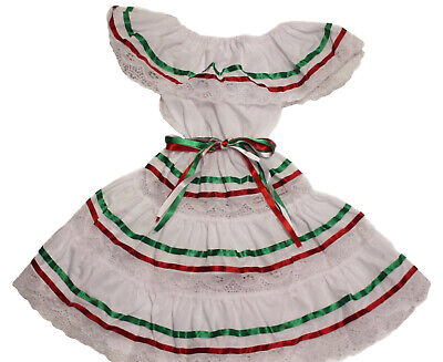 GIRLS GYPSY PEASANT MEXICAN LACE DRESS CINCO DE MAYO FIESTA ](Girls Bohemian Dress)