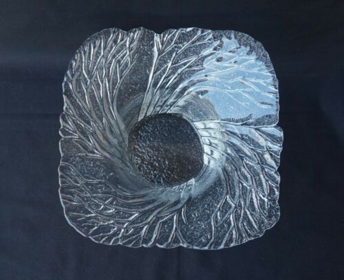 Vintage Lasisepat Mantsala Glass Metsa Forest Bowl Finland Trees Bark 26cm