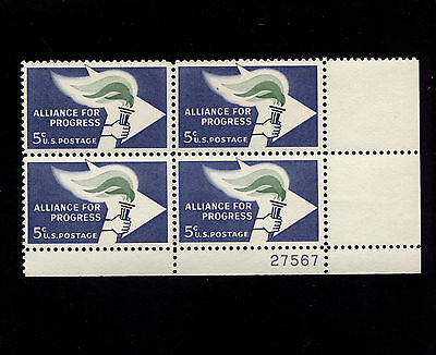 Opc Us 1963 Alliance For Progress Sc 1234 Plate Block Mnh