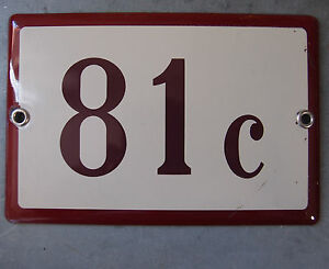 vintage plaque tole emaillee numero maison french enamel house number sign 81 c ebay. Black Bedroom Furniture Sets. Home Design Ideas