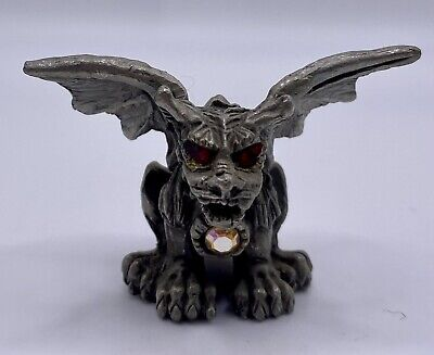small pewter winged GARGOYLE with Red Crystal eyes