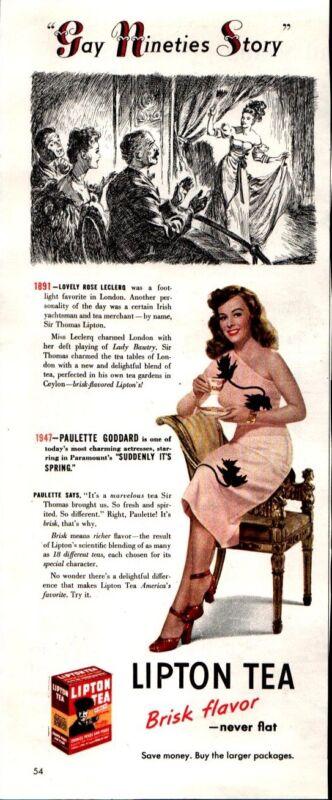 1947 Lipton Tea Actress Paulette Goddard Gay Nineties Vintage Print Ad 518