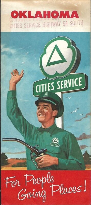 1958 CITIES SERVICE Road Map OKLAHOMA Route 66 Muskogee Bartlesville Ponca City