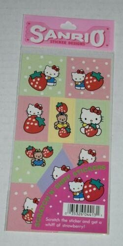 1995 sanrio HELLO KITTY scratch n sniff stickers STRAWBERRY