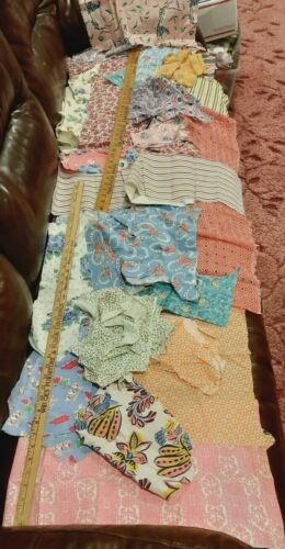 Vintage Feedsack Pieces Remnants Quilters Lot Floral Novelty 24 Different Prints
