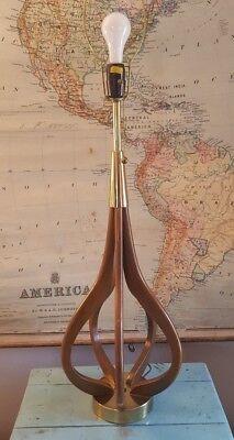 Vtg Large MCM Danish Modern Eames? Modeline? Walnut Table Lamp (3 way socket) for sale  Great Falls