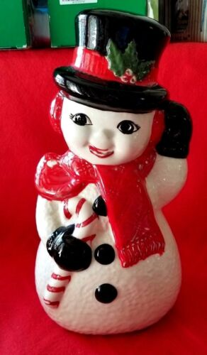 ANTIQUE SNOWMAN CRISTMAS HOLIDAY DECORATION HOLLOW  LARGE HAND PAINTED