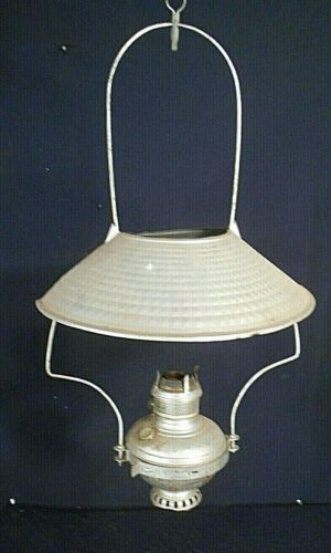 ANTIQUE VICTORIAN COUNTRY STORE HANGING OIL LIGHT WITH TIN SHADE