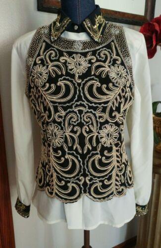 Ladies Western Show Trail Rail Pleasure Vest and Matching Blouse M/L Black Cream