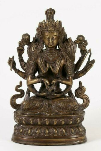 Nepal Nepalese Bronze Statue of Vasudhara on a Lotus base First half 20th c.