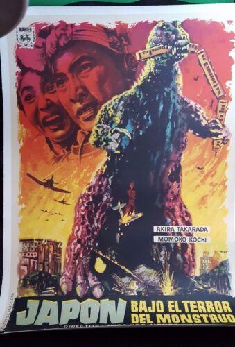 GODZILLA - Original Spanish Monster Movie Poster on Linen.  1956