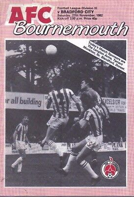 AFC Bournemouth v Bradford City Official Football Programme - 27th November 1982
