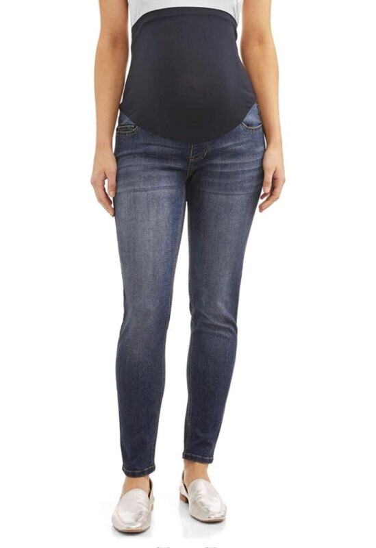 Maternity Jeans Washed Denim 5 Pocket Skinny Fit Comfort Band Sz M 8-10 New!
